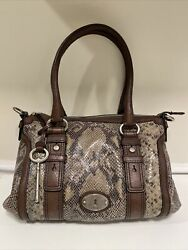 Fossil Maddox Embossed Snake Reptile Brown Leather Satchel Purse $34.99