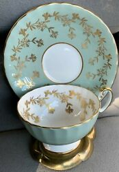 Vintage Aynsley Mint Green Gold Filigree Tea Cup And Saucer Set W/ Brass Stand