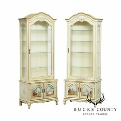 French Louis Xv Style Vintage Pair Paint Decorated Curio Display Cabinets