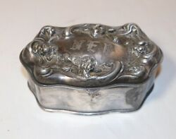 Antique Ornate 1800and039s Victorian Engraved Silverplate Flower Satin Jewelry Box