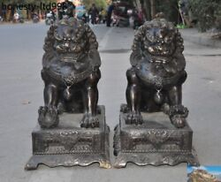Antique Chinese Fengshui Pure Bronze Lion Fu Foo Dog Guardion Beast Statue Pair