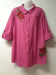 Bedford Fair Pink With Rose Embellishment Rolled Up Sleeves Size 16
