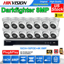 Hikvision Darkfighter 4k 8mp Ip Camera Cctv Systems 16ch Nvr Ds-2cd2385g1-i Lot