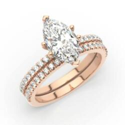 1.25 Ct Diamond Engagement Ring And Matching Band Marquise Cut F Si1 14k Rose
