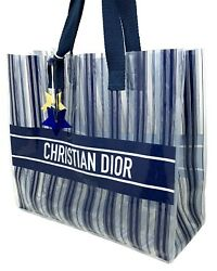 Authentic Christian Dior Logo Book Tote Plastic Bag Clear Bag Dark Blue White $320.40
