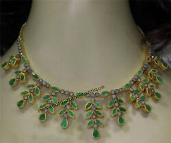 Gorgeous Silver Antique Rose Cut 4.10ct Diamond Emerald Victorian Style Necklace