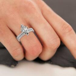1.25 Ct Diamond Engagement Ring And Matching Band Marquise Cut F Si1 14k White