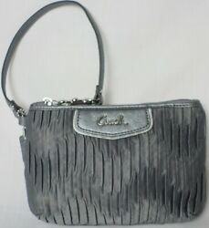 Coach Dark Gray Sateen Madison Ashley Gathered Pleated Silver Clutch Wristlet $22.77