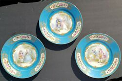 Three Antique Hand Painted Sevres Plates