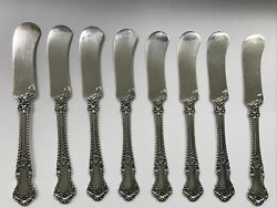 English Rose By Durgin Set Of 8 Flat Handle Butter Spreaders