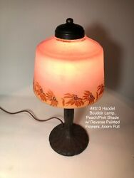 Handel Bird Boudoir Lamp With Pink Shade And Reverse Painted Flowers Antique
