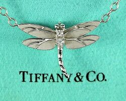 And Co 18k White Gold Round Diamond Dragonfly Pearl Chain Pendant Necklace