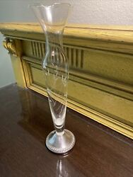10andrdquo Fluted Vase W/etched Glass And Sterling Base - Marked Dutchie Creation Wghted