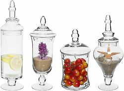 Set Of 4 Clear Glass Apothecary Jars/ Wedding Decorative Small Storage Bottles