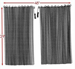 Fireplace Black Mesh Replacement Curtain Screen 2 Panels 29 X 48 Replacement