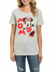Disney Women Minnie Mouse Mom T Shirt Red Gray Short Sleeve $15.99