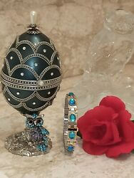 Musical Faberge Egg Bracelet Jewelry Box Gift For Wife Fiance Sister Girlfriend