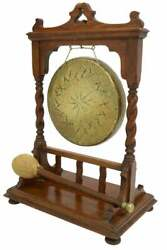 Antique Gong, English Oak And Brass Table-top Dinner Gong, Early 1900s