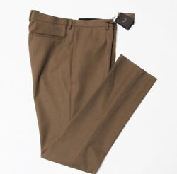 Nwt Berluti Formal Pleated Wool Trousers Size 58/48 Pants Olive Military Green