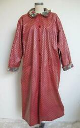 Vintage Anne Marie French Provencal Print Raincoat M Les Olivades Oilcloth Red