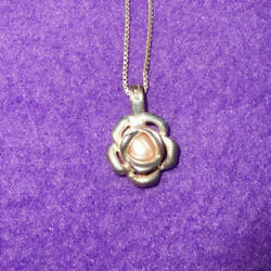 Lot 2 Sterling Silver Wish Pearl Opening Cage Heart And Flower Pendants Necklaces