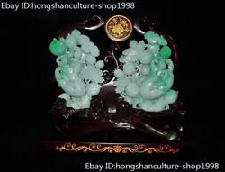 Chinese 100 Natural Emerald Green Jade Carved Wealth Peach Pomegranate Statue