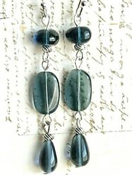 Beautiful Etched Silver and Montana Blue Bead Dangle Earrings. Denim $6.99