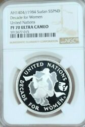 1984 Sudan Silver 5 Pounds Decade For Women Ngc Pf 70 Ultra Cameo Perfection