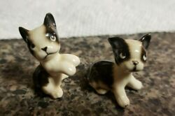 Set of 2 Vintage Boston Terrier Miniature Figurine Sitting 1.25quot; Mini Dogs Pups