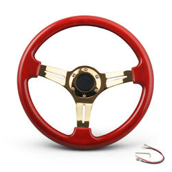 350mm 14and039and039 Red Universal Racing Abs Steering Wheel Fits 6 Hole Car Adapters