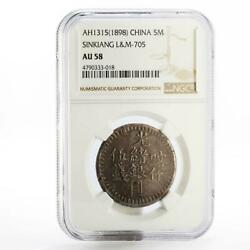 China Sinkiang Province 5 Miscals Au58 Ngc Lm-705 Top Pop Silver Coin 1898