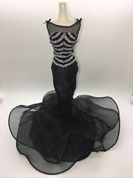 DRESS BARBIE DOLL BLACK SILVER EVENING DRESS GOWN $14.98