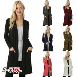 Women Open Front Fly Away Cardigan Sweater Long Sleeve With Pockets Loose Drape