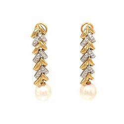 18k Yellow And White Gold Diamond And Pearl Drop Earrings