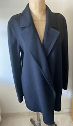 $595 NWT THEORY Long Black JACKET Wool Cashmere Double Face Clutch Front COAT M $299.00