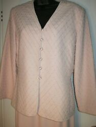Women#x27;s Pink Evening Jacket Suit and Skirt Albert Nipon Pink Beaded Size 8 $40.00
