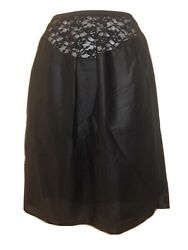 NEW Vintage St. Michael Black Half Slip With Curved Wide Stretch Lace Waist M $9.95