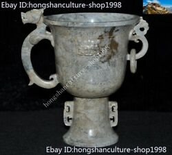 China Hetian Old Jade Carved Dragon Head Beast Head Animal Goblet Wineglass Cup