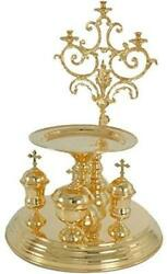 D Religious Gifts Votive Candles Holder Litya Tray Gold Plated With Cups