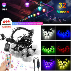 Outdoor Fairy String Lights 41ft Led Rgb Color Changing Waterproof Garden Decor