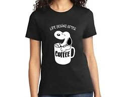 MENS WOMENS BLACK T SHIRT with LIFE BEGINS AFTER COFFEE SNOOPY PRINT