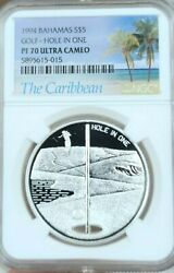 1994 Bahamas Silver 5 Dollars Golf Hole In One Ngc Pf 70 Ultra Cameo Perfection