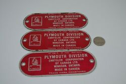 Plymouth Chrysler Canada Car Tag Metal Plate Badge Red 1950s Lot Of 3 Windsor