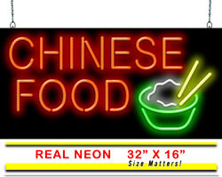 Large Chinese Food Neon Sign | Jantec | 32 X 16 | Chinese Restaurant Take Out