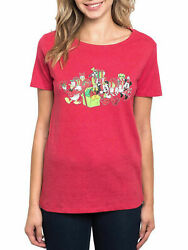 Disney Women Christmas Minnie Mouse amp; Friends T Shirt Red Mickey Donald Daisy $12.95