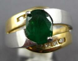 Large 1.5ct Diamond And Aaa Emerald 14kt 2 Tone Gold Oval And Round Engagement Ring