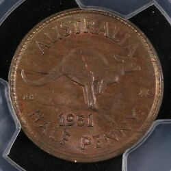 1951-p Australia With Dot Half Penny Coin Pcgs Ms 63 Bn