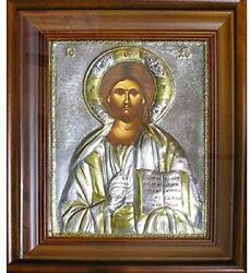 D Religious Gift Hand Painted Silver Icon In Wooden Frame Christ The Teacher