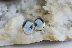 14ky Blue And White Cameo Earrings