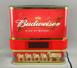 Rare Vintage Everbrite Budweiser Beer Lamp Light W/clock Led And Clydesdale Horses